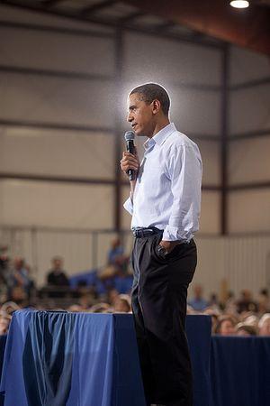 Obama bathed in light